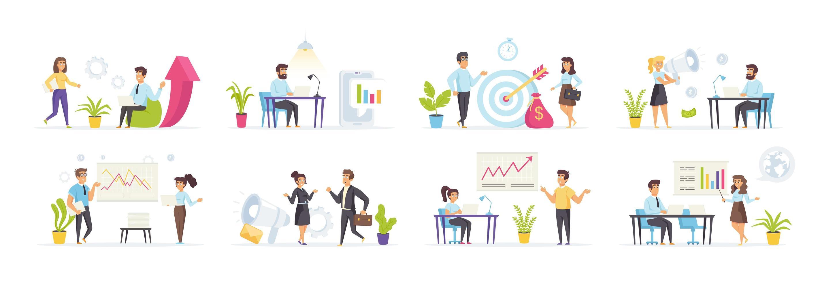 marketing numérique avec des personnes dans diverses scènes vecteur