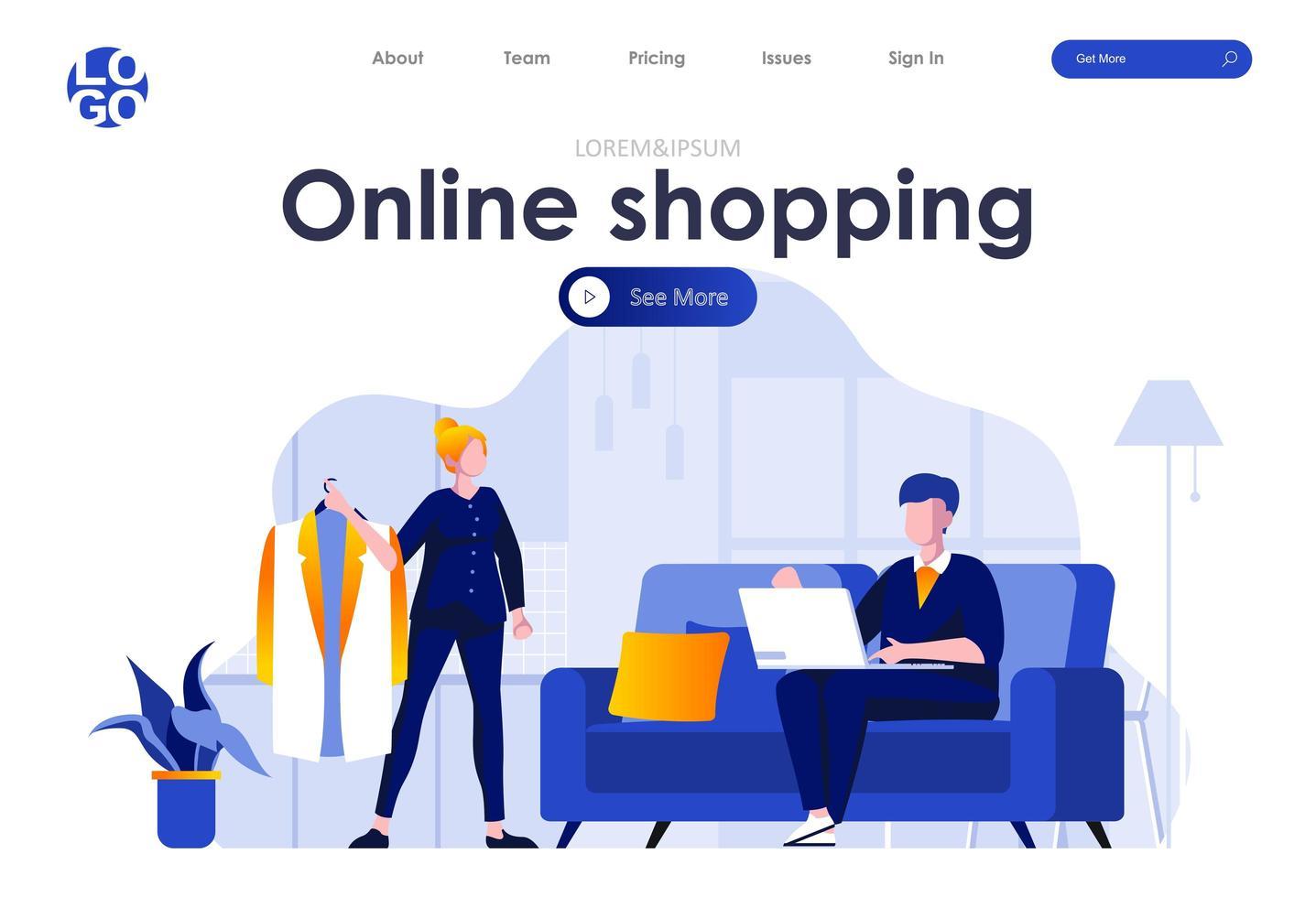 conception de page de destination plate pour les achats en ligne vecteur