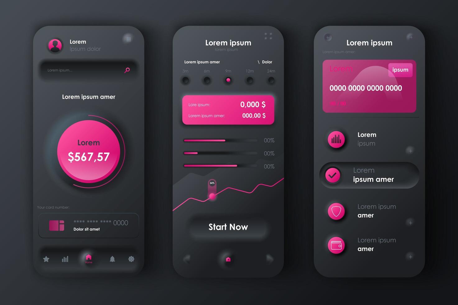 kit de conception néomorphique unique des services financiers vecteur