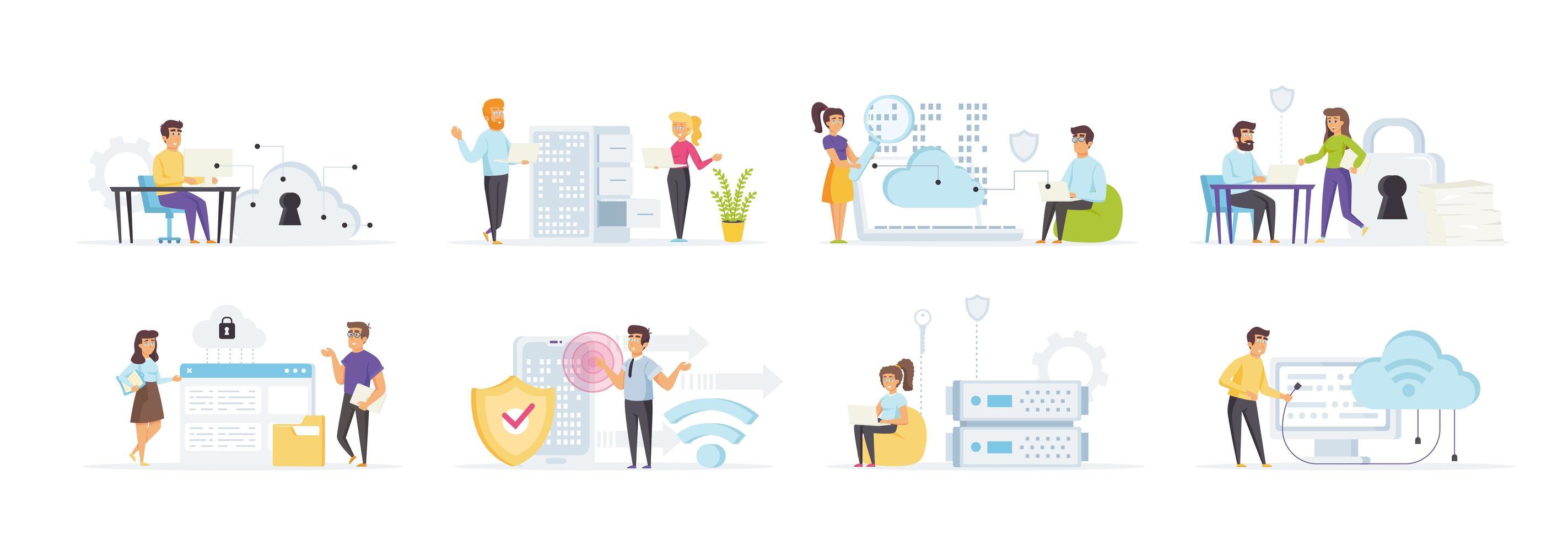 cloud computing avec des personnes dans diverses situations vecteur
