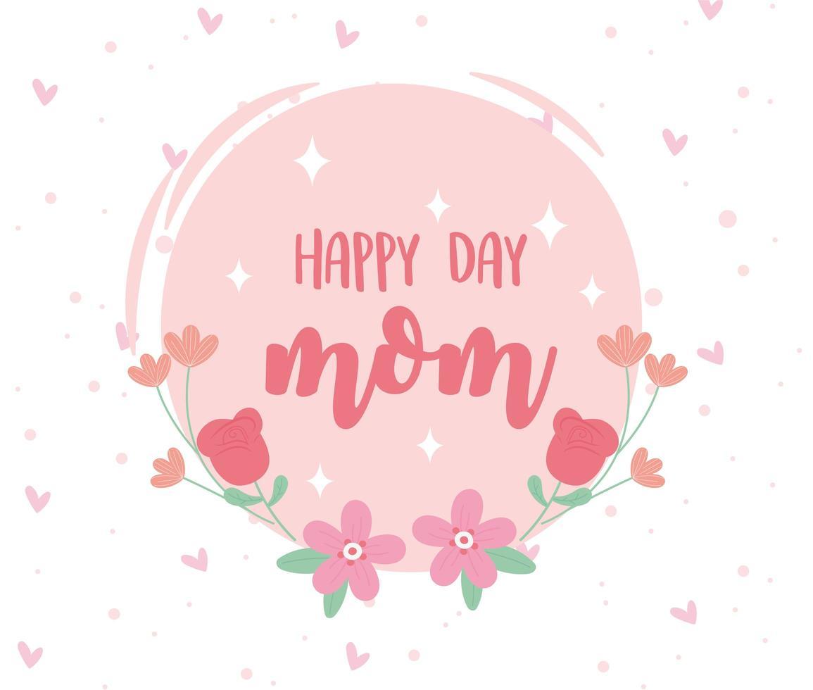 bonne fête des mères lettrage et fleurs carte de voeux vecteur