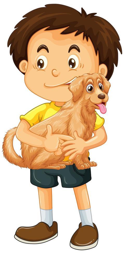 garçon avec chien isolé vecteur