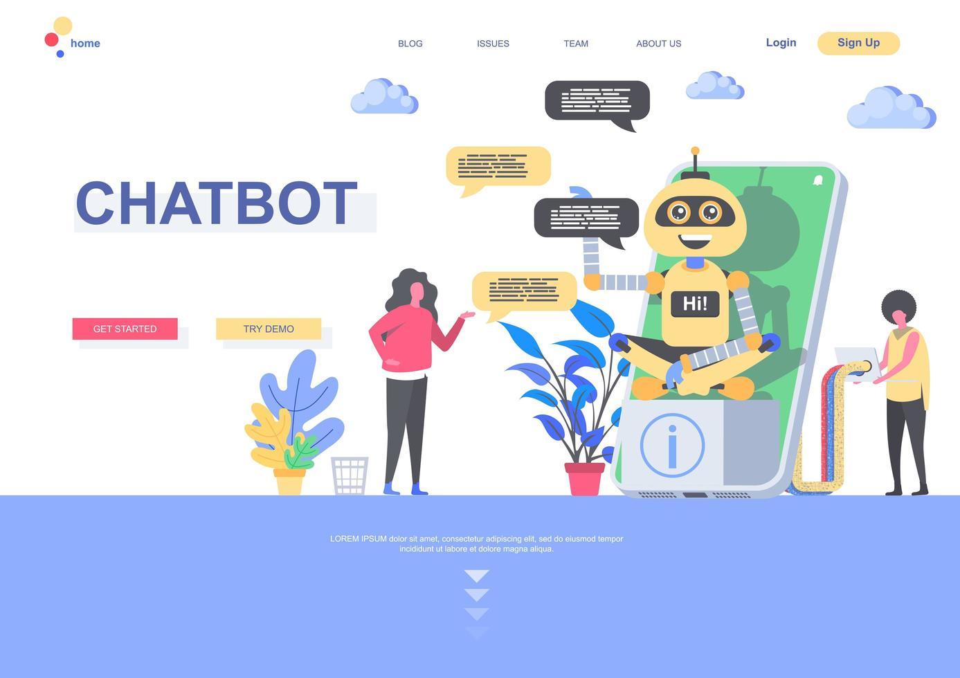 modèle de page de destination chatbot vecteur