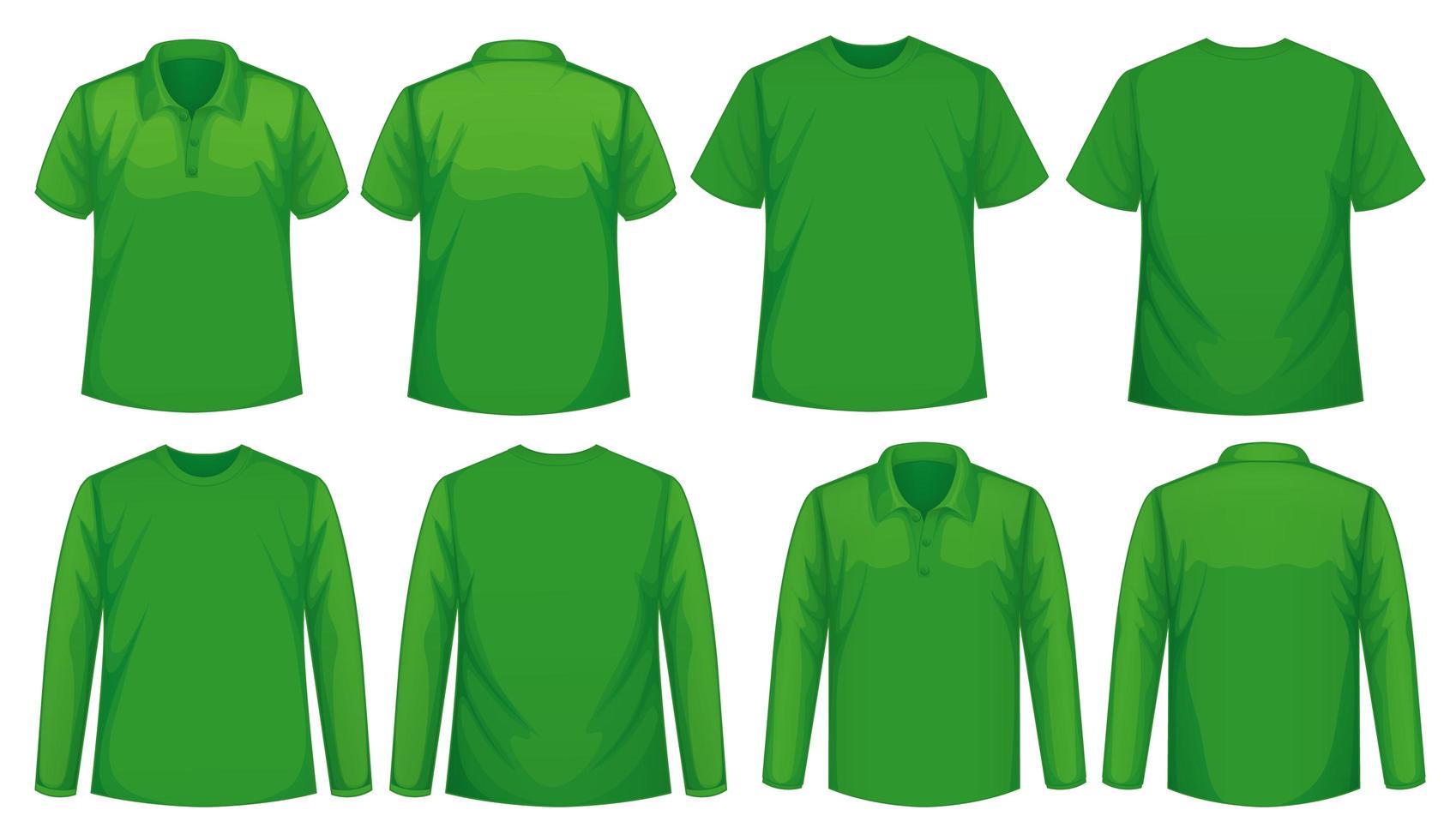 ensemble de différents types de chemise de la même couleur vecteur