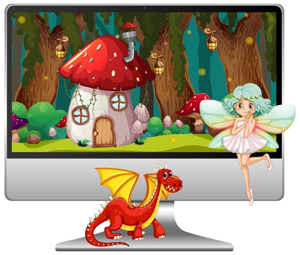 Conte de fées sur écran d'ordinateur isolé sur fond blanc vecteur