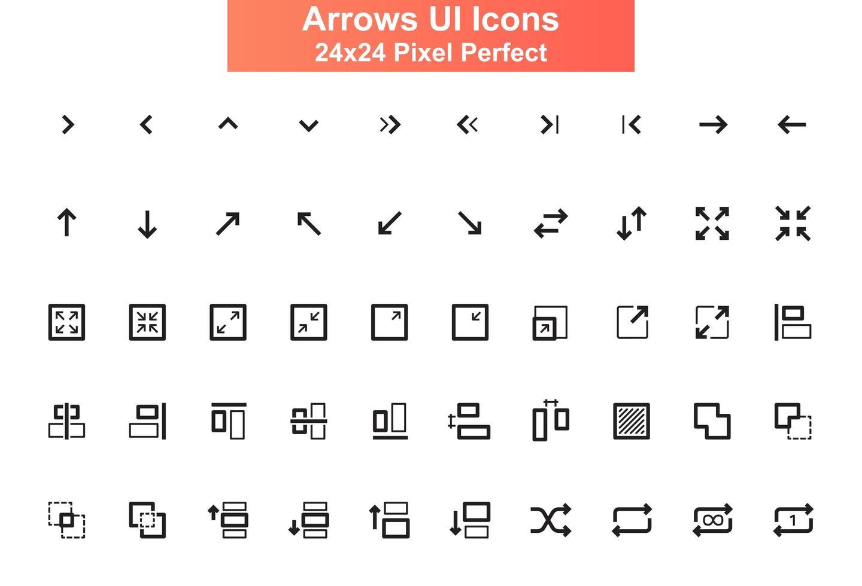 flèches, jeu d'icônes d'interface utilisateur, grille 24x24 vecteur