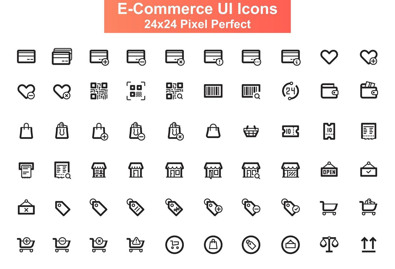 jeu d'icônes d'interface utilisateur, grille 24x24 vecteur