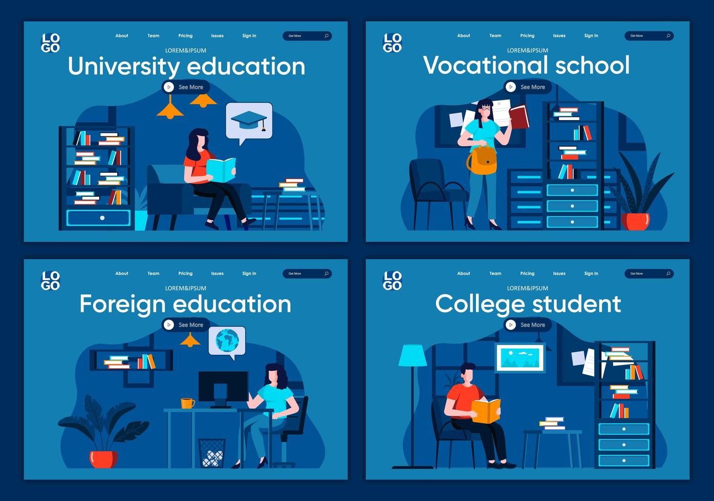 éducation universitaire, ensemble de pages de destination plates vecteur