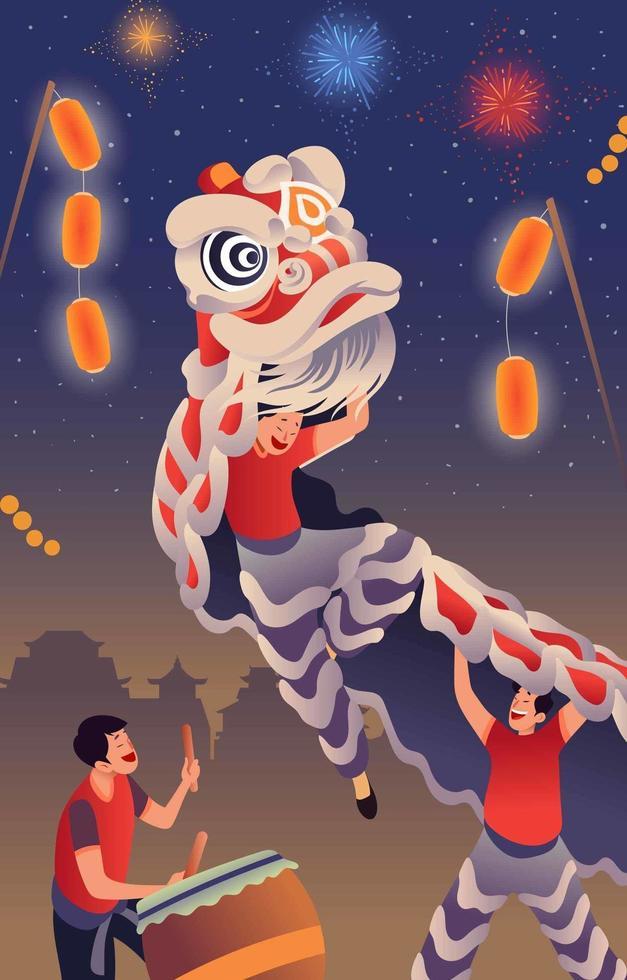 célébration du nouvel an chinois avec danse du lion vecteur