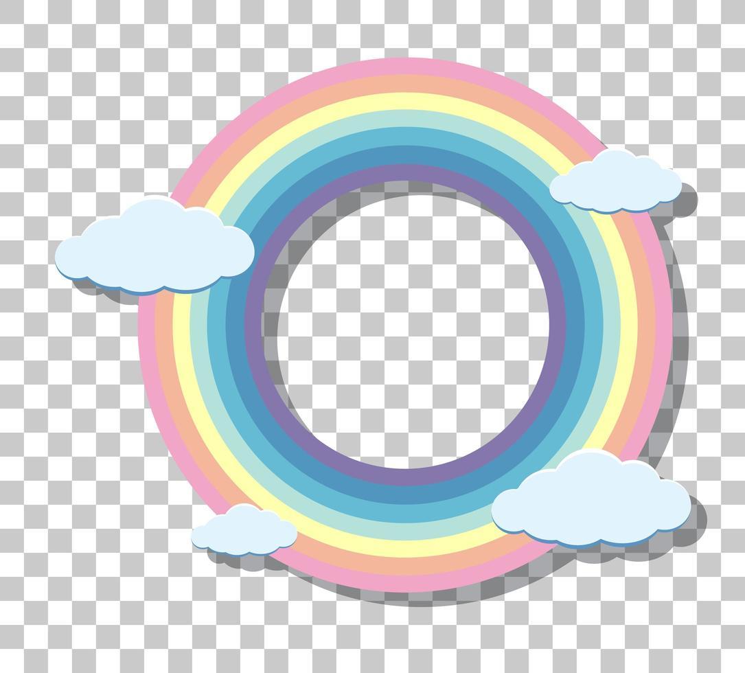 Cadre de bague arc-en-ciel pastel isolé sur fond transparent vecteur
