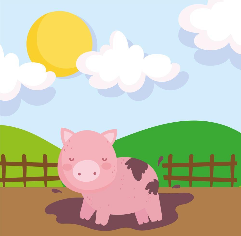 mignon cochon de ferme dans la boue vecteur