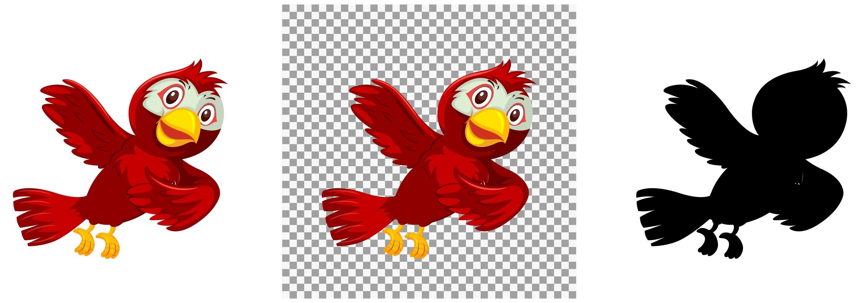 personnage de dessin animé mignon oiseau rouge vecteur