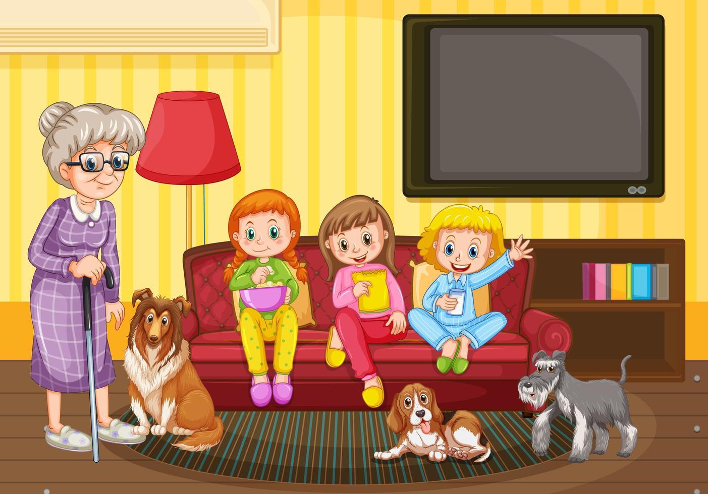 scène avec des personnes restant à la maison en famille vecteur
