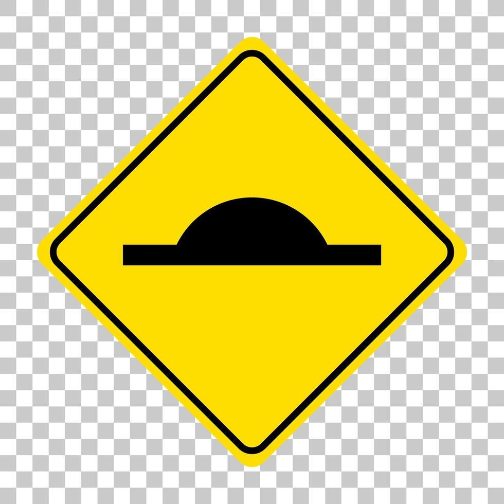 Panneau de signalisation de ralentisseur isolé sur fond transparent vecteur