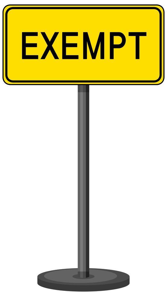 signe d'exemption isolé sur fond blanc vecteur