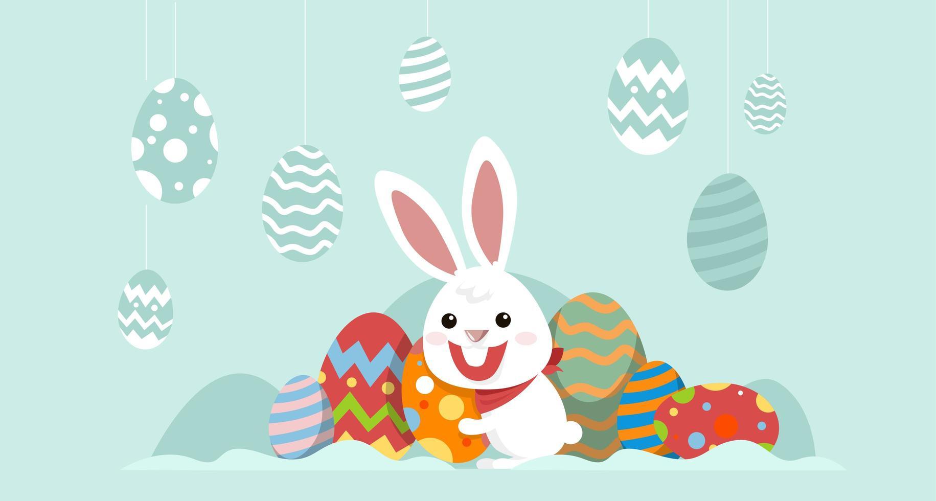 lapin avec des oeufs décorés bannière de pâques vecteur