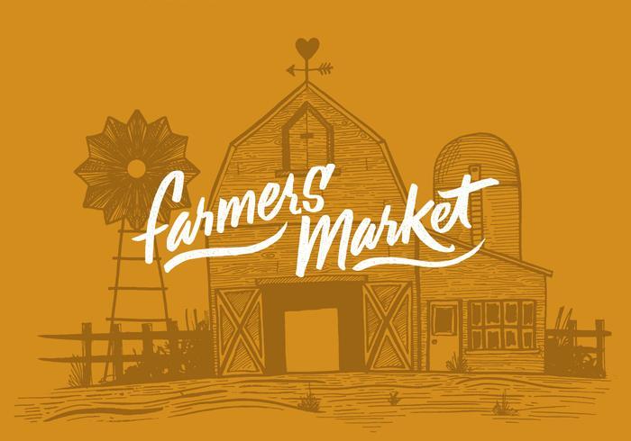 Grange du marché des agriculteurs vecteur