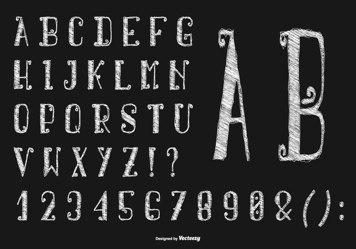 Hand Drawn Sketchy Collection Alphabet vecteur