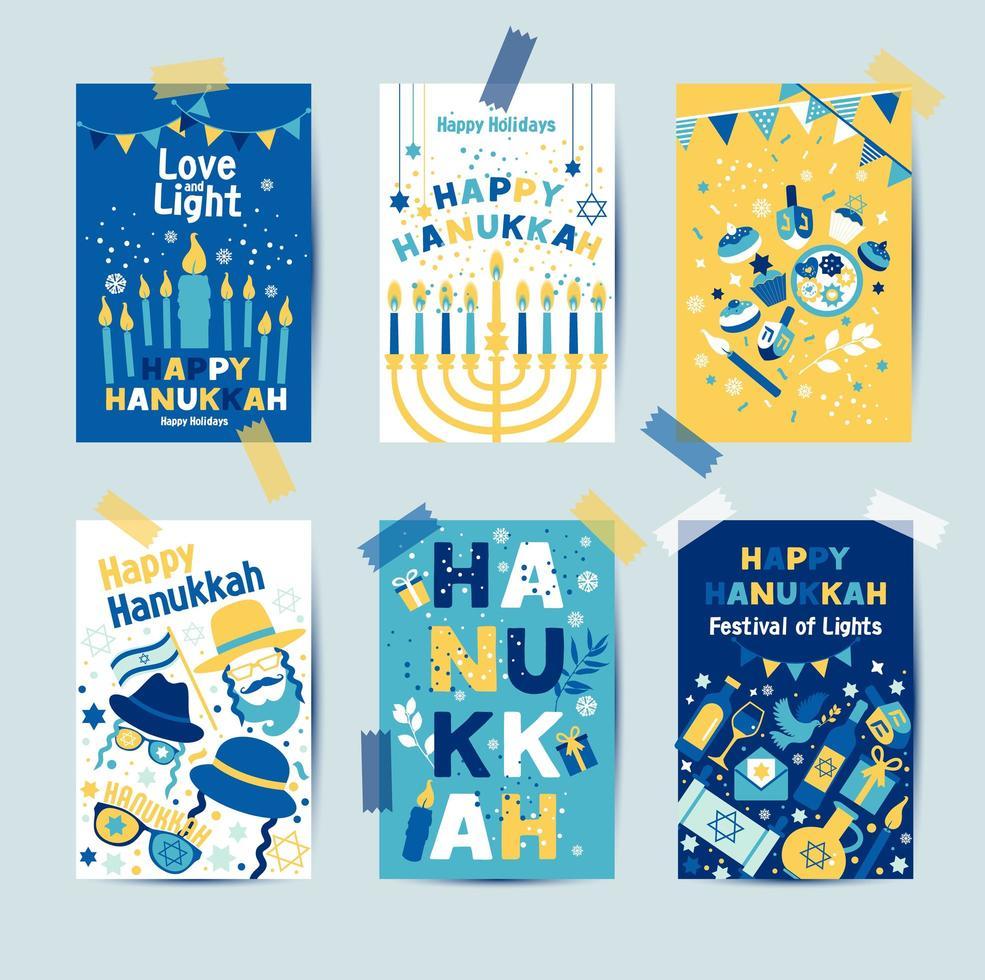 ensemble de couleurs six cartes de voeux de Hanoukka vecteur