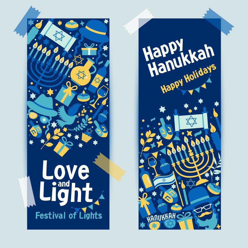 bannière de hanukkah de vacances juives vecteur