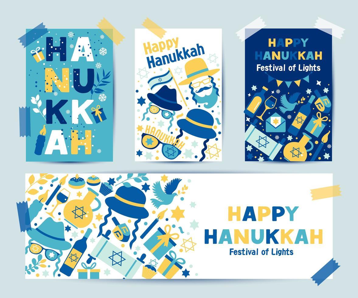 ensemble de couleurs quatre cartes de voeux de Hanoucca vecteur