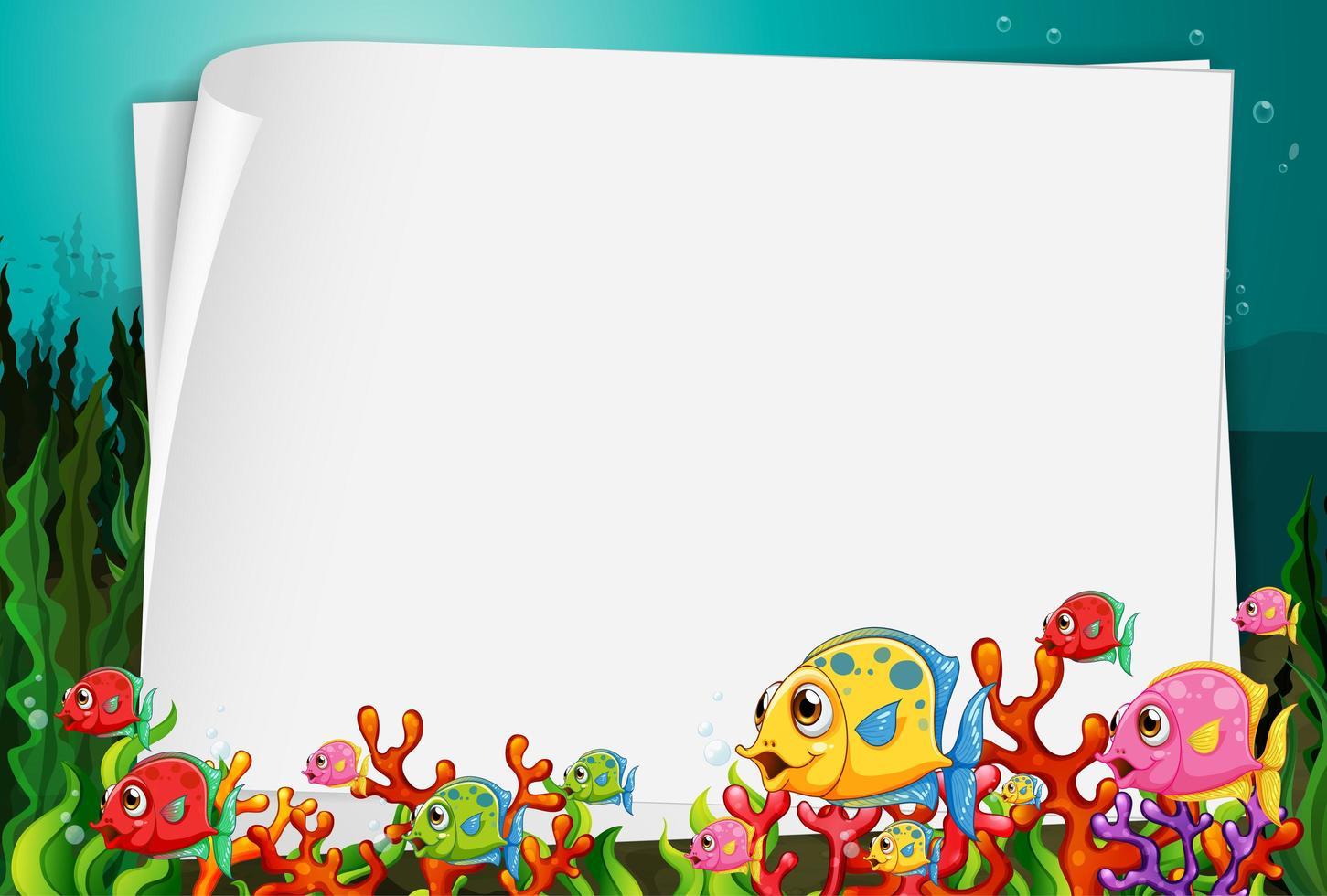 bannière de papier vierge avec des poissons exotiques et des éléments de la nature sous-marine sur le fond sous-marin vecteur