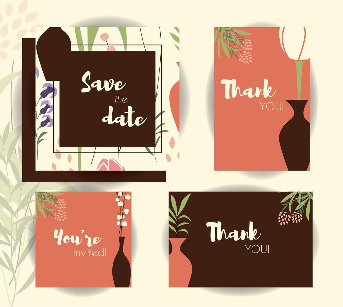 modèles de cartes d'invitation de mariage, ensemble de mariage avec motif floral vecteur