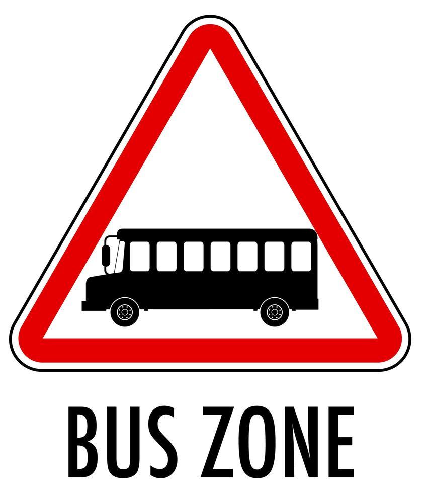signe de zone de bus isolé sur fond blanc vecteur
