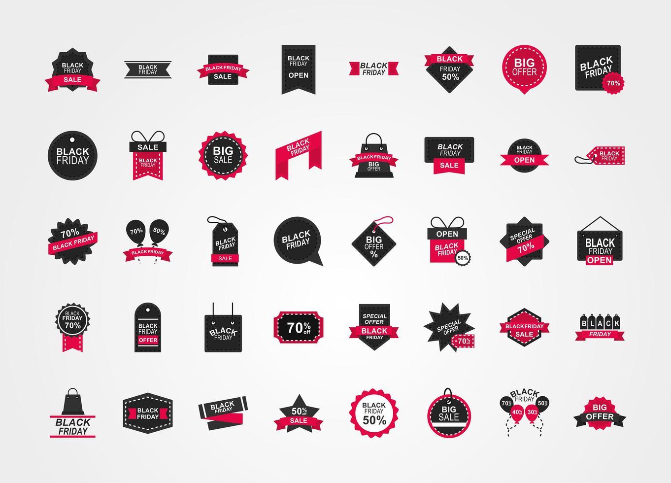 collection d'icônes de vente vendredi noir vecteur
