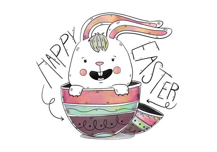 Lapin mignon oeufs à l'intérieur avec Lettrage jour de Pâques vecteur