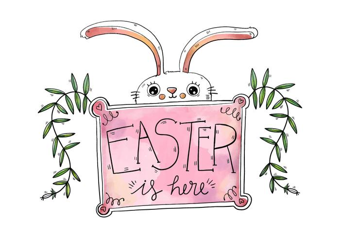Lapin blanc mignon avec le jour de Pâques rose Ouvrir une session vecteur