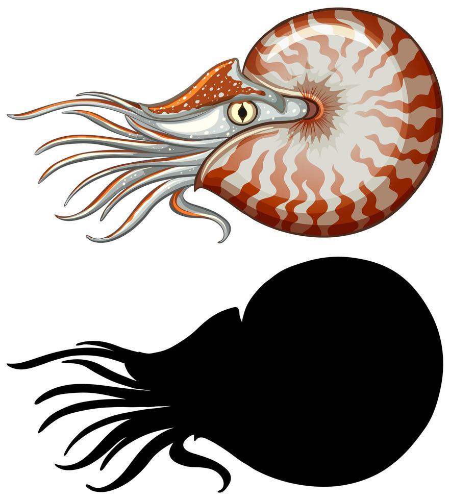 caractère nautilus et sa silhouette vecteur