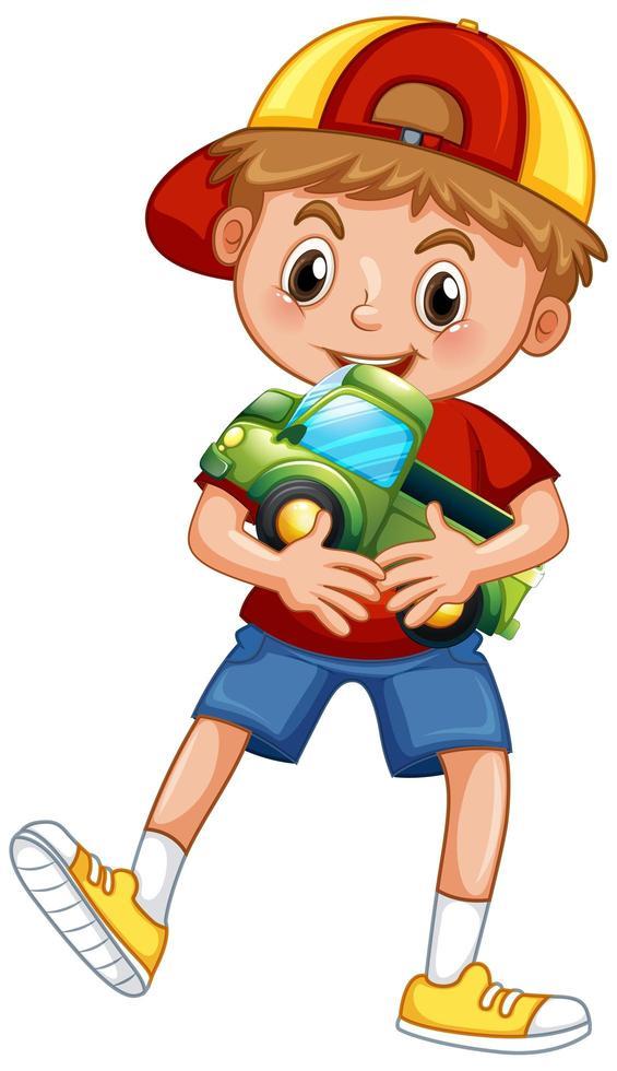 garçon, tenue, voiture, jouet vecteur