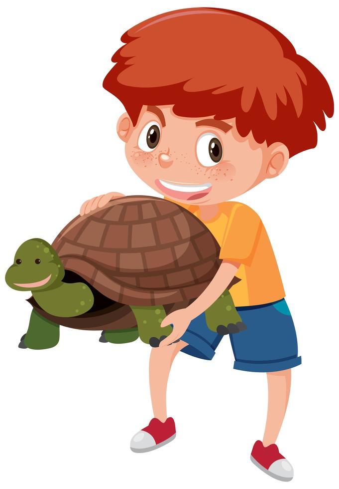 garçon tenant dessin animé mignon tortue vecteur