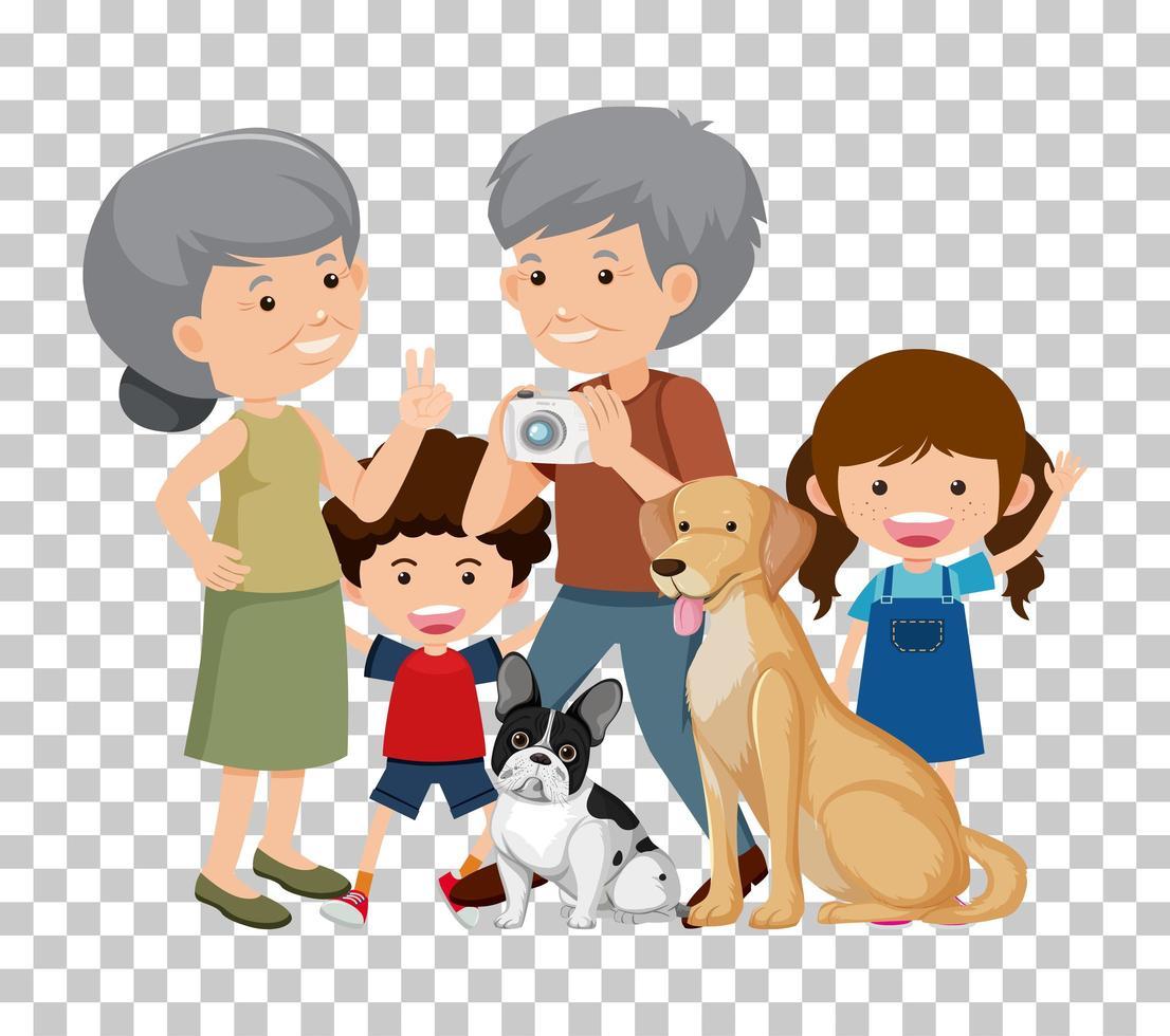 vieux couple et petit-enfant avec leurs chiens de compagnie vecteur