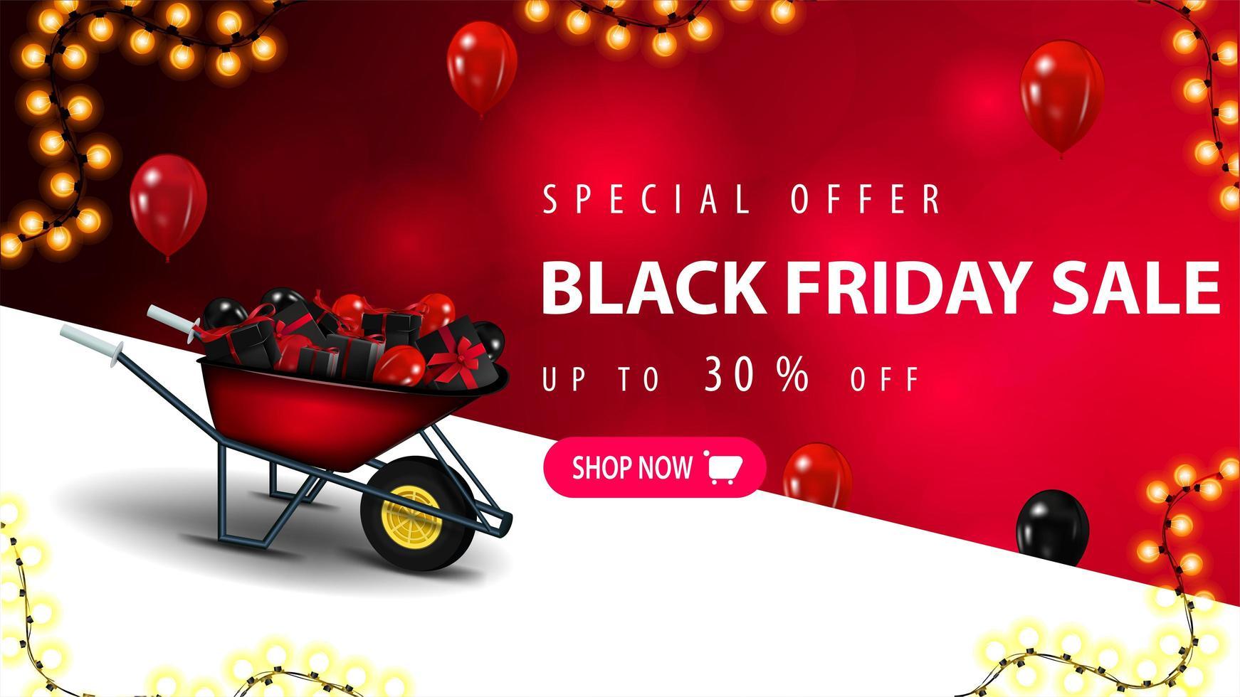 offre spéciale, bannière de réduction de vente vendredi noir vecteur
