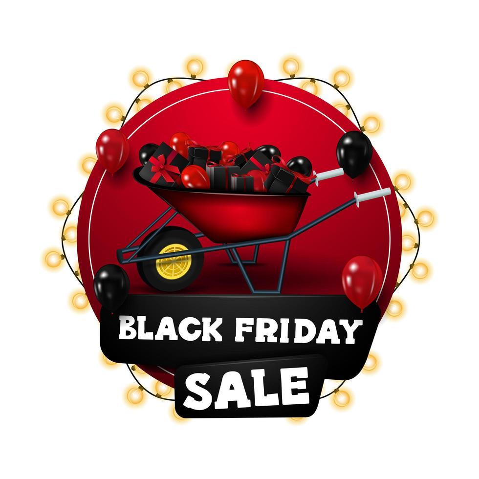 vente de vendredi noir, bannière de réduction de cercle rouge vecteur