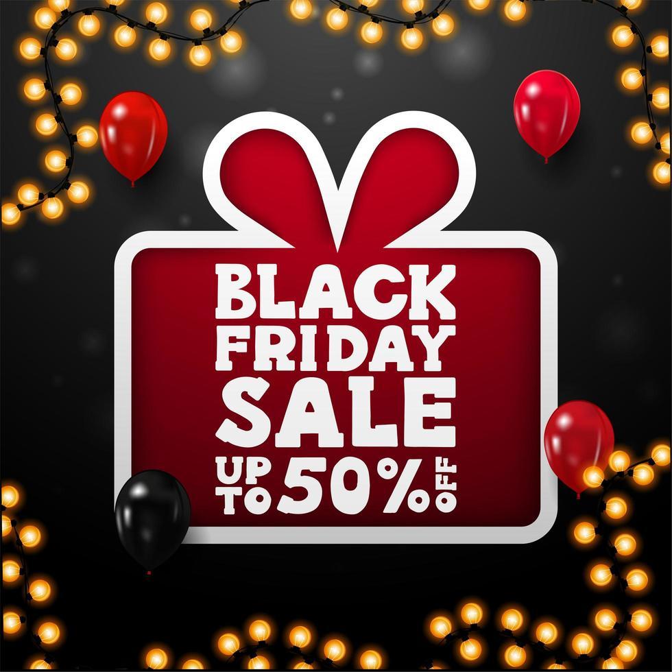 vente du vendredi noir, jusqu'à 50 sur l'affiche cadeau vecteur
