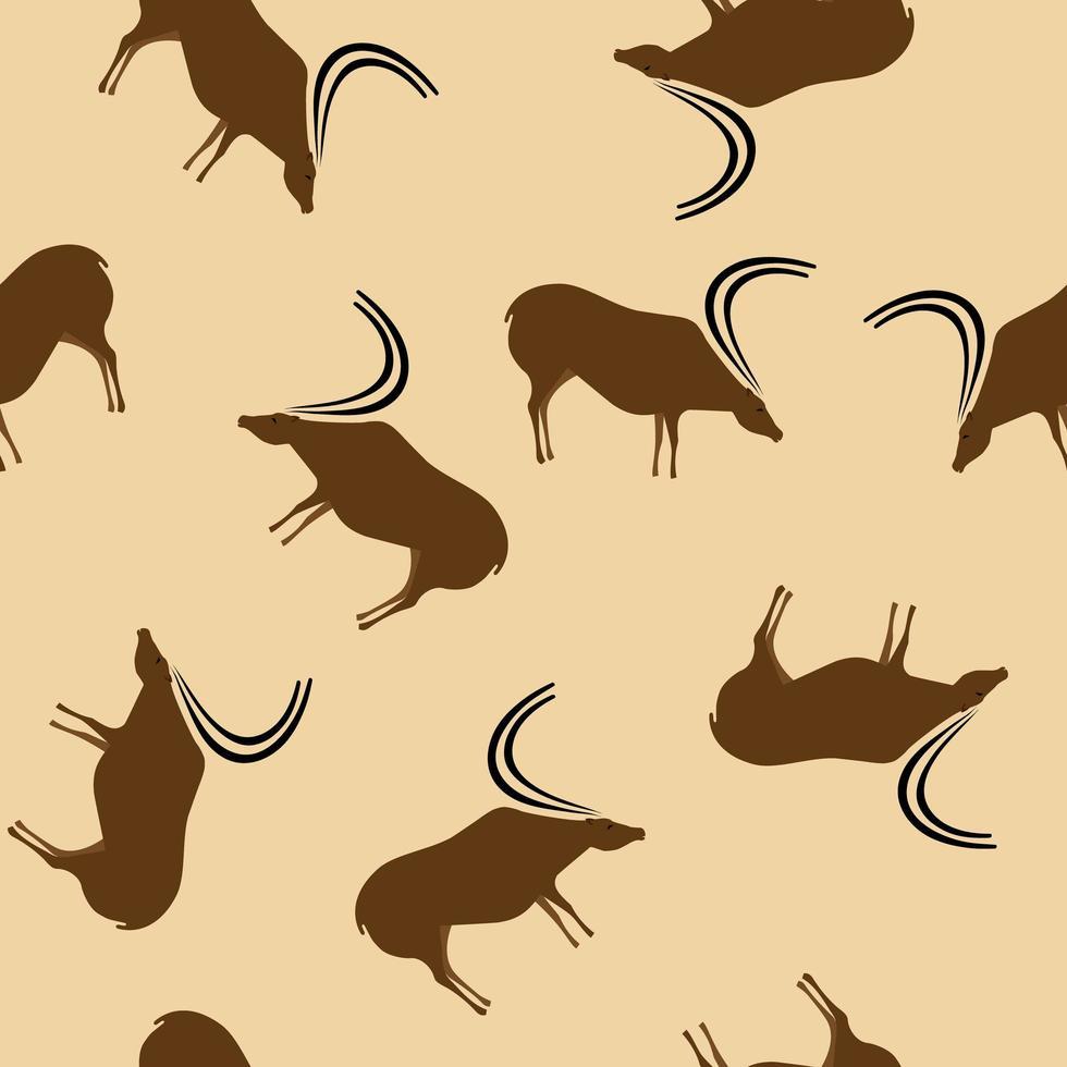 dessins de cerfs primitifs modèle sans couture beige vecteur