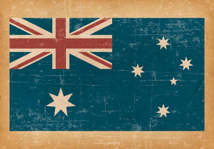 Drapeau de l'Australie sur fond grunge vecteur