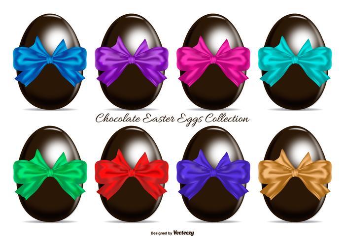 Oeufs colorés avec Bows cadeaux de Pâques au chocolat vecteur