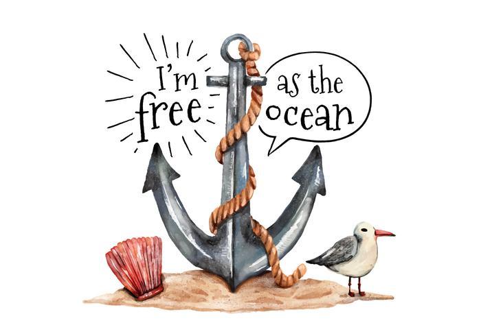 Aquarelle Anchor Mouette et Oyster avec Ocean Citation vecteur