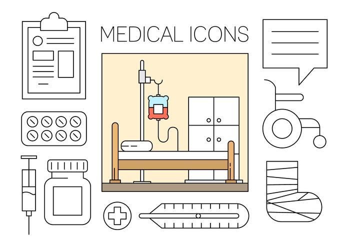 Gratuit Medical Icons Set dans Minimal Vector Design