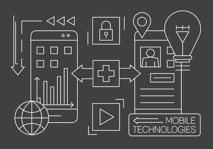 Technologie éléments vecteur libre linéaire mobile