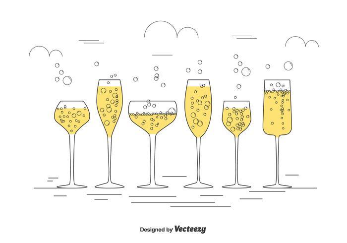 Ensemble de vecteur de verre de Champagne