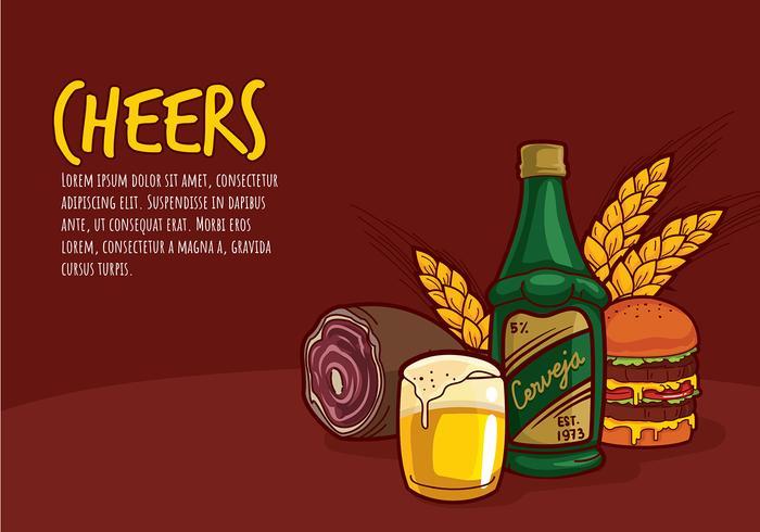 Cerveja et Food Bar Cartoon vecteur libre