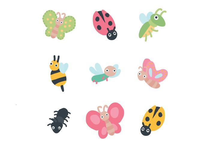 Ensemble de bugs mignons vecteur