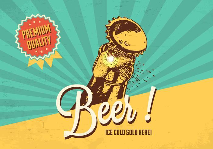 Vecteur de bière froide Rétro affiche