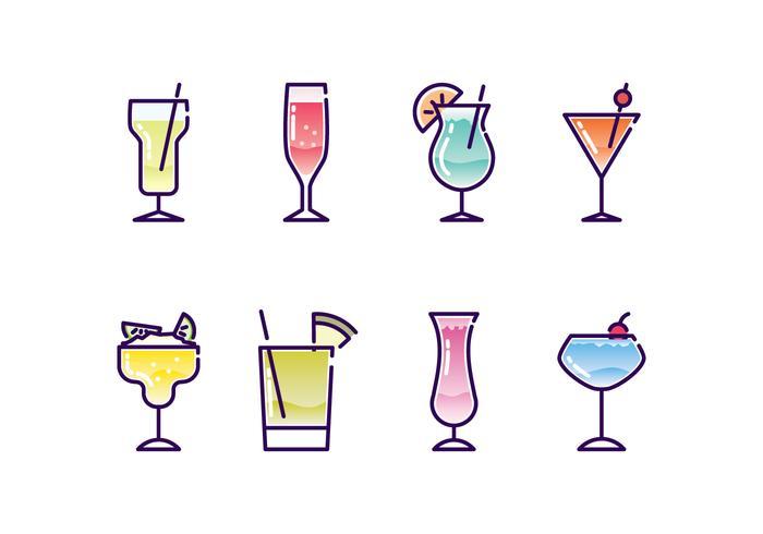 Ensemble d'icônes de cocktails vecteur