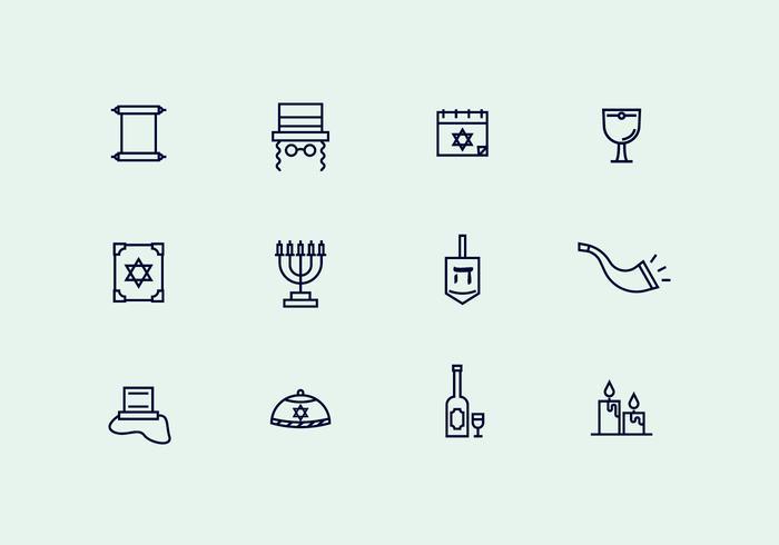 Icônes de contournement du judaïsme vecteur